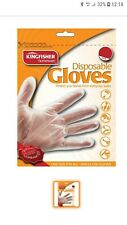 100 Disposable Gloves Clear Cleaning Decorating Hair Dye Kingfisher - One Size