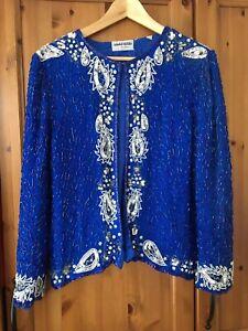 Vintage Sequin Jacket Boho 10 12 14 Embroidered Festival Disco Top