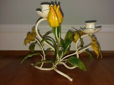 Vtg Tole Candlestick Candle Holder Flower Toleware Italian Metal Yellow Orange