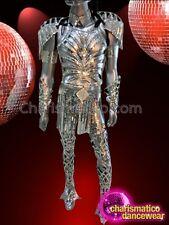 Complete Silver Mirror Tiled Futuristic Armor Like Diva Mens Costume