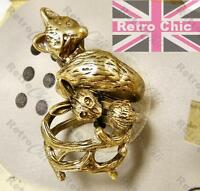 3pcs WOODLAND ANIMAL WRAP RING SET rabbit, fox ANTIQUE BRASS/VINTAGE BRONZE 7/N