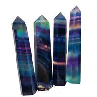 Natural Fluorite Quartz Crystal Stone Healing Amethyst Hexagonal Wand Point