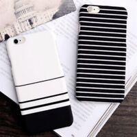 Slim Stripe Flower Leaf Pattern Hard Back Case Cover For Apple iPhone 8 7 6 Plus
