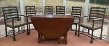 Vintage Jaycee solid oak gate-leg dining table, 4x high-back chairs + 2x carvers