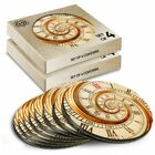 8x Round Coasters in the Box - Classic Swirly Clock Time Concept  #13171