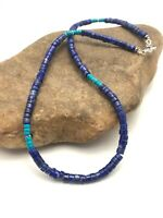 Mens Gift Navajo Beads Lapis Sterling Silver Necklace Turquoise 19in 3218 Sale