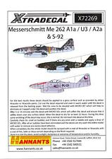 Xtra Decals 1/72 MESSERSCHMITT Me-262 A1a, U3, A2a, & S-92 Jet Fighters