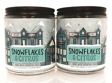 2 BATH & BODY WORKS SNOWFLAKES & CITRUS SCENTED 1 WICK 7oz CANDLE NEW!