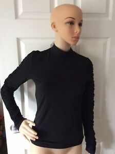 Bnwt Very/ Michelle Keegan Black Ruched Sleeve Fitted Top - Black - Size 10