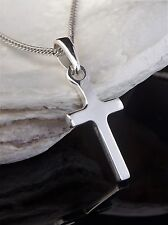 Solid Sterling Silver 925 Small Cross 15mm x 9mm 16/18 inch Chain Necklace Box