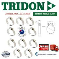 Hose Clamps 21 - 44mm Tridon Aussie Made Pk10 Part Stainless Perforated Band