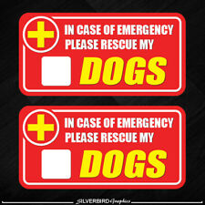 2x Dog Pet Rescue Sticker Emergency Fire Safety Safe Warning Caution Pets Cat