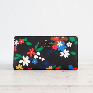 NWT Kate Spade Staci Sailing Floral Slim Bifold Wallet in Black Multi