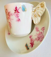 Rare 1880's Haviland Limoges Cup/Saucer Meadow Visitor Demitasse Butterfly Hande