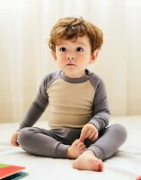 "Vaenait Baby Toddler Kids Clothes Long  Pajama Set ""Modal Raglang G&B"" 18M-12Y"