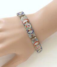 Vintage Micro Mosaic Floral Link Hinged Bracelet Italy