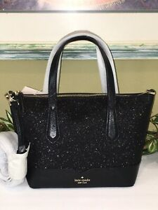 KATE SPADE LOLA GLITTER SATCHEL CROSSBODY SHOULDER BAG BLACK SPARKLING
