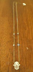 Gold over Sterling Silver Hamsa Adjustable CZ Necklace