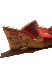 boc womens Red Leather Sandals Wedge shoes size 8