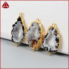 Similar 1Pcs Freeform Natural Onyx Agate Slice Connector Gold Plated QG0952