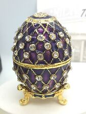 Gold Plated Purple Enamel and Crystals Faberge Egg Ornament