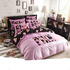 Full Size Fleece Duvet Cover Bedding Set 4 Pieces Pink Girls Teens Bedroom