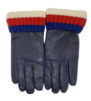Gucci Mens Leather Gloves with Sylvie Web Cashmere Lined Size 9 1/2 Medium $630