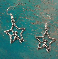 Gorgeous Fairy Star Tinkerbell Earrings on 14K White Gold Filled French Hooks
