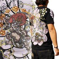 Mens Summer Short Sleeve T-Shirt Japanese Pattern Embroidery Wind Thunder Ghost