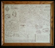 Rare Franklin Village map by George Wellington Smith, 1960's