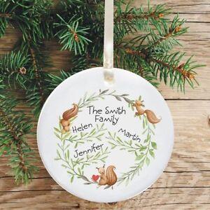 Ceramic Keepsake Family Christmas Tree Decoration - Squirrel Design