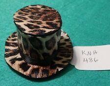 Brown Leopard Print Top Hat w Black Satin Ribbon Band Ken Barbie Doll Knh486