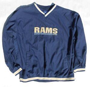 NAVY BLUE & GOLD L A RAMS  PULLOVER WINDBREAKER REEBOK AUTHENTIC NFL ST. LOUIS
