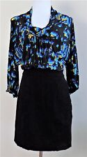 BCBG MAX AZRIA Sz 8 LS Scoop Neck Batwing Black & Multicolor Blouson Dress