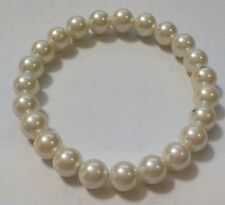 Vintage Faux Pearl Glass Beads Stretch Bracelet