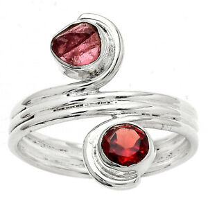 Hessonite Garnet and Pink Tourmaline Rough 925 Silver Ring s.9 Jewelry E326