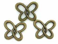 8 PEWTER ANTIQUED BRONZE LEAD FREE DOUBLE FLOATING HEART CONNECTOR CF814