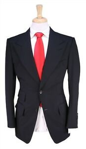 Tom Ford Bespoke Custom Made for TOM FORD Solid Black Slim 2-Btn Suit 38R