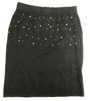 Worthington women's  black embellished skirt size L, stretch and back zipper