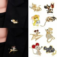 Enamel Animal Airplane Mouse Cream Mice Brooches Jewelry Pin Rhinestone Jewelry