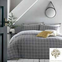 Appletree HARVARD CHECK Grey & White Checked 100% Cotton Duvet Cover Set