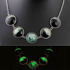 Glow in the Dark Crystal Pendant Luminous New moon to full moon women Necklace