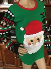 a772218c76ac0 Derek Womens Rosy Cheek Santa Ugly Christmas Sweater Top Knit sz L NWT