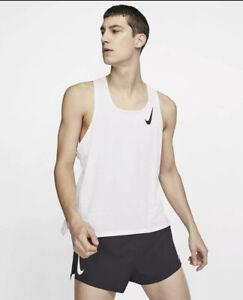 Nike Aeroswift Running Singlet Tank Top Shirt White Mens SZ Medium CJ7835-100