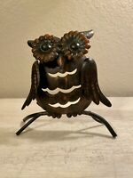 """Vintage Hammered Bronze Owl Picture Card Holder Figurine Hand Painted 5"""" x 5"""""""