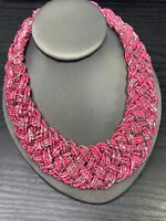 "Vintage Bohemian 16"" Woven Pink Glass Colored seed bead Bib Chunky necklace"