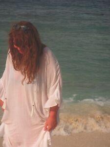 Lovely LISA TAYLOR @ Plumo Kaftan Beach Dress m / l  metallic stripe