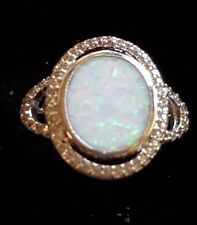 Vintage Sterling Silver Lab Created Opal Halo Pave Cocktail Ring Sz 7.5 Hallmark