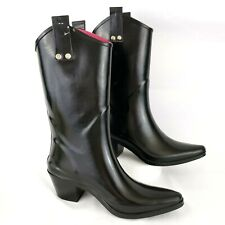 Capelli Women's Rain Tall Boots Size 6 Black Rubber Pull On Waterproof