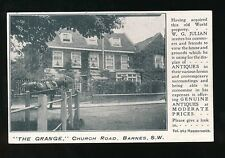 London BARNES Chruch Rd The Grange Antiques Advert pre1919 PPC